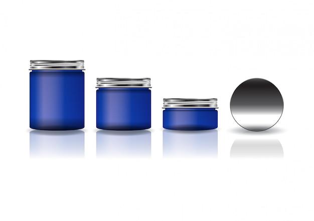 아름다움 또는 건강 제품에 대 한 은색 뚜껑 3 크기 블루 화장품 둥근 항아리의 집합입니다.