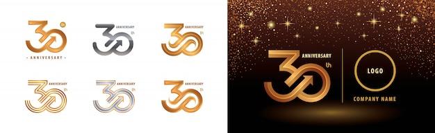 Набор 30-летия дизайн логотипа, празднование тридцатилетия