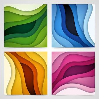 3d抽象的な背景と紙カット形状のセット、