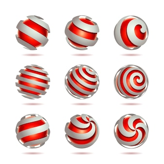 3d抽象的な赤い球要素のセット