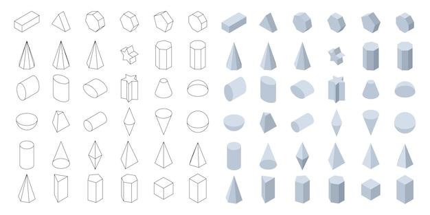 학교와 수학을 위한 3d 기본 기하학적 모양 아이소메트릭 모양 세트