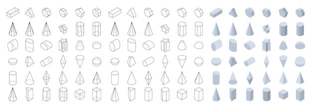 학교 기하학 및 수학을 위한 3d 기본 기하학적 모양 아이소메트릭 뷰 개체 집합