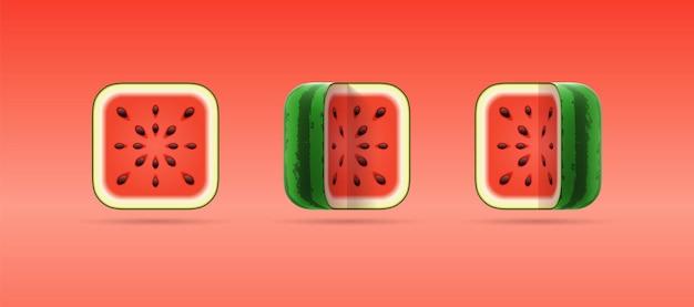 Набор трехмерных мультяшных изолированных иконок квадратного арбуза на красном фоне