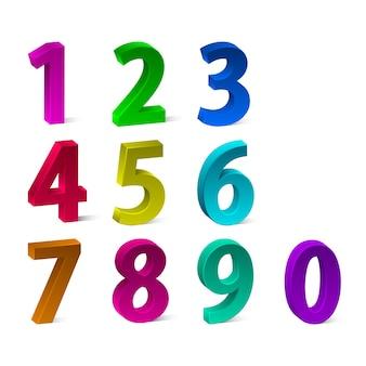 3dカラフルな数字のセット。