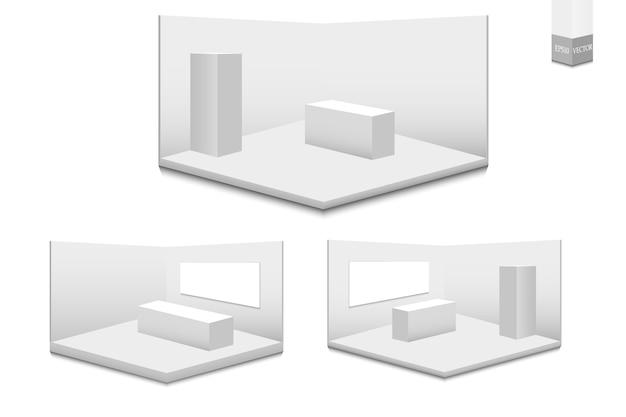 3d 전시 스탠드 세트. 책상 흰색 빈 광고 스탠드입니다. 흰색 빈 기하학적 광장. 회의실 프리젠 테이션. 빈 템플릿.
