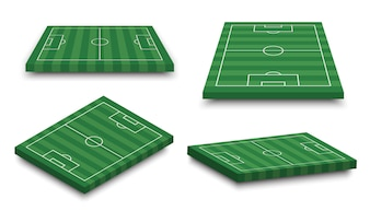 Set of 3D football field on white isolated background