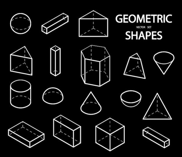 Набор 3d геометрических фигур. изометрические виды.