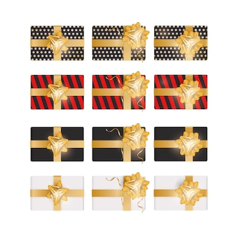 3d 선물 상자 세트입니다. 현실적인 선물의 컬렉션은 평면도입니다. 휴일을 주제로 한 디자인 요소입니다. 벡터 일러스트 레이 션.