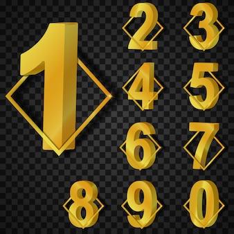 Набор 3d золотой номер коллекции, графический дизайн объекта