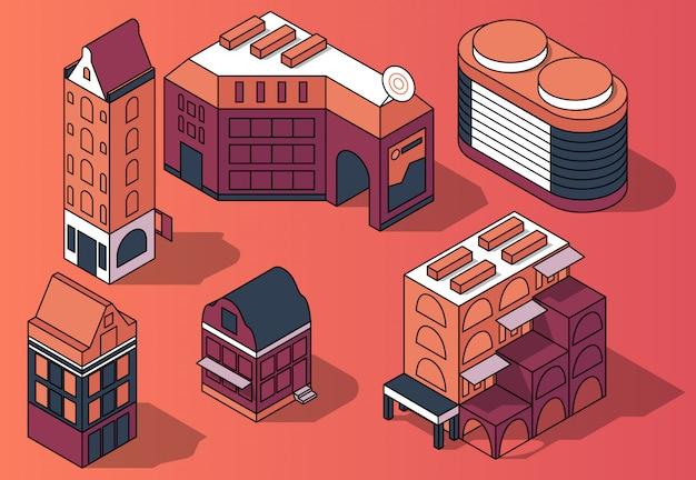 Набор трехмерных изометрических жилых многоэтажных зданий