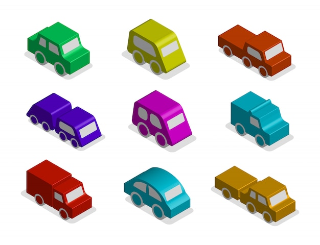 Набор 3d изометрические игрушечный автомобиль иконки изолированные