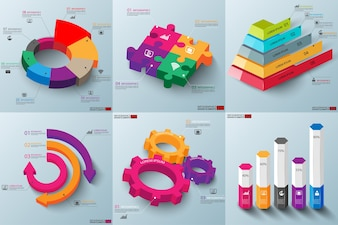 Set of 3d paper infographic elements data visualization