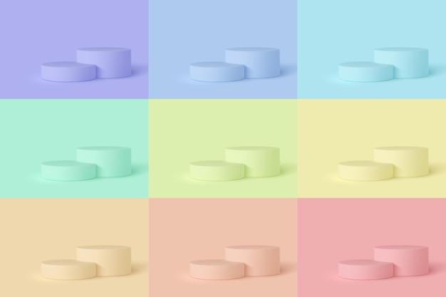 さまざまな色の 3 d 表彰台シーンのセット。