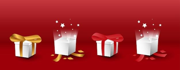 Набор 3d реалистичной подарочной коробки с открытыми и закрытыми вариациями