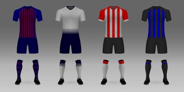 Набор 3d реалистичного шаблона футбольного свитера барселона, тоттенхэм, псв, интер.