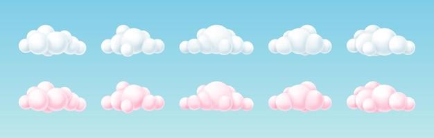 Набор 3d белых и розовых облаков с круглыми геометрическими фигурами, изолированными на синем фоне. симпатичный мультяшный дизайн cloudscape. векторная иллюстрация