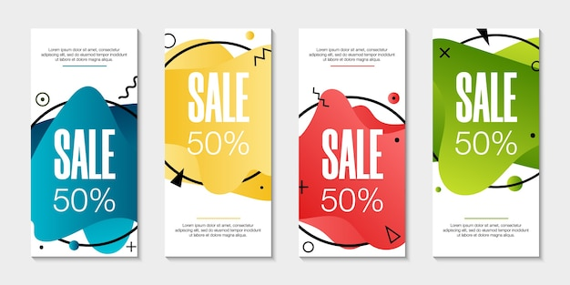 Набор из 4 абстрактных современных графических жидких баннеров