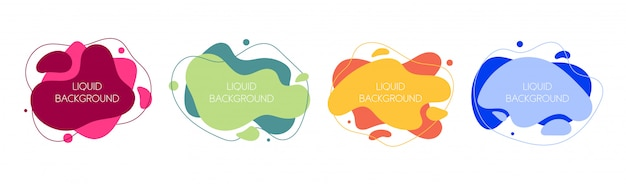 4つの抽象的な現代的なグラフィック液体要素のセット。