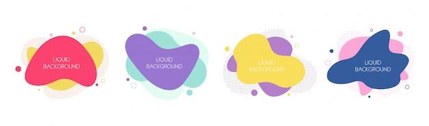 Набор из 4 абстрактных современных графических жидких элементов