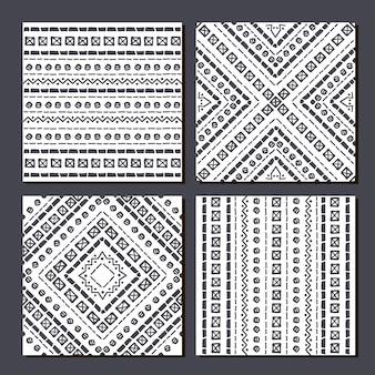 Набор из 4 ацтеков этнических бесшовные модели геометрических фонов