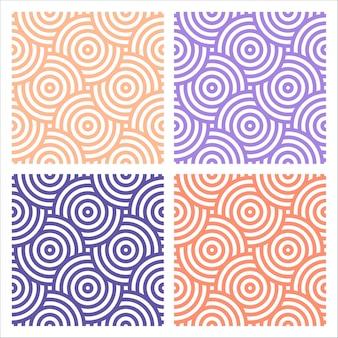 円で4つのカラフルなパターンのセット