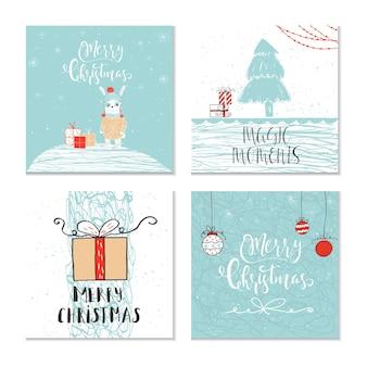 動物とレタリング引用の4つのかわいいクリスマスギフトカードのセットメリークリスマスの暖かい願い