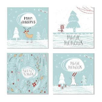 Набор из 4 милых рождественских подарочных карт с цитатой