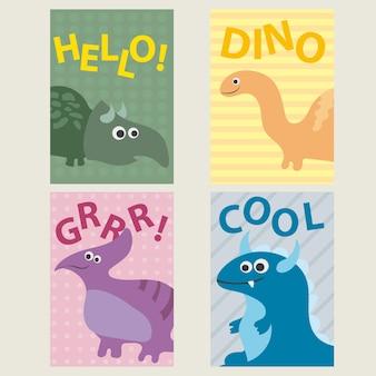 誕生日、記念日、パーティーの招待状、スクラップブッキング用の恐竜と4つのかわいいクリエイティブカードテンプレートのセット-ベクトル