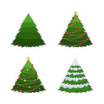 手で描く4つのもみのセット。緑のモミ、雪のモミ、装飾が施されたクリスマスツリー。