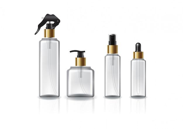 Набор из 4 головок / размеров прозрачной квадратной косметической бутылки с золотым горлышком.