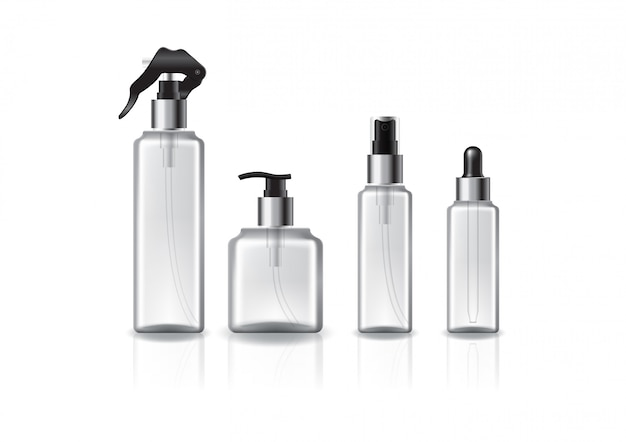 아름다움, 건강 한 제품에 대 한 실버 링 4 머리 / 크기 사각형 화장품 병의 집합입니다.