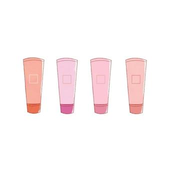 핑크 립 4종 세트. 귀엽고 심플한 아트 스타일. 흰색 배경에.