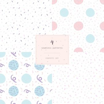 Set of 4 seamless modern abstract pattern confetti.