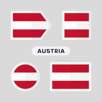オーストリアの旗と4つのシンボルのセット
