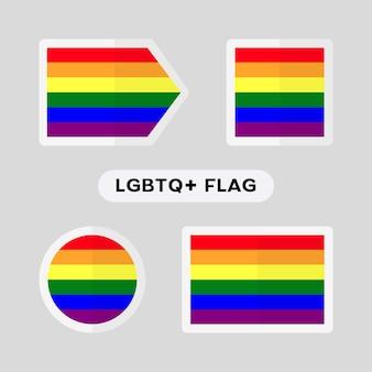 Lgbtqコミュニティの旗が付いている4つのシンボルのセット