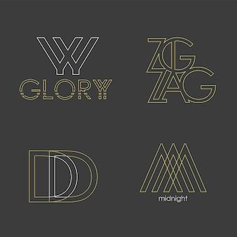 Набор из 4 векторных логотипов. абстрактные буквы в линейном золотом стиле