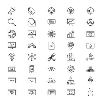 Набор 40 значков линии seo Premium векторы