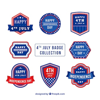 Set of 4th of july badges in flat style