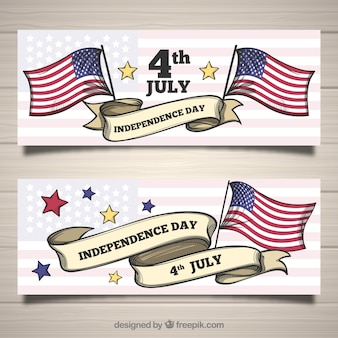 Set of 4th of july banners with flags