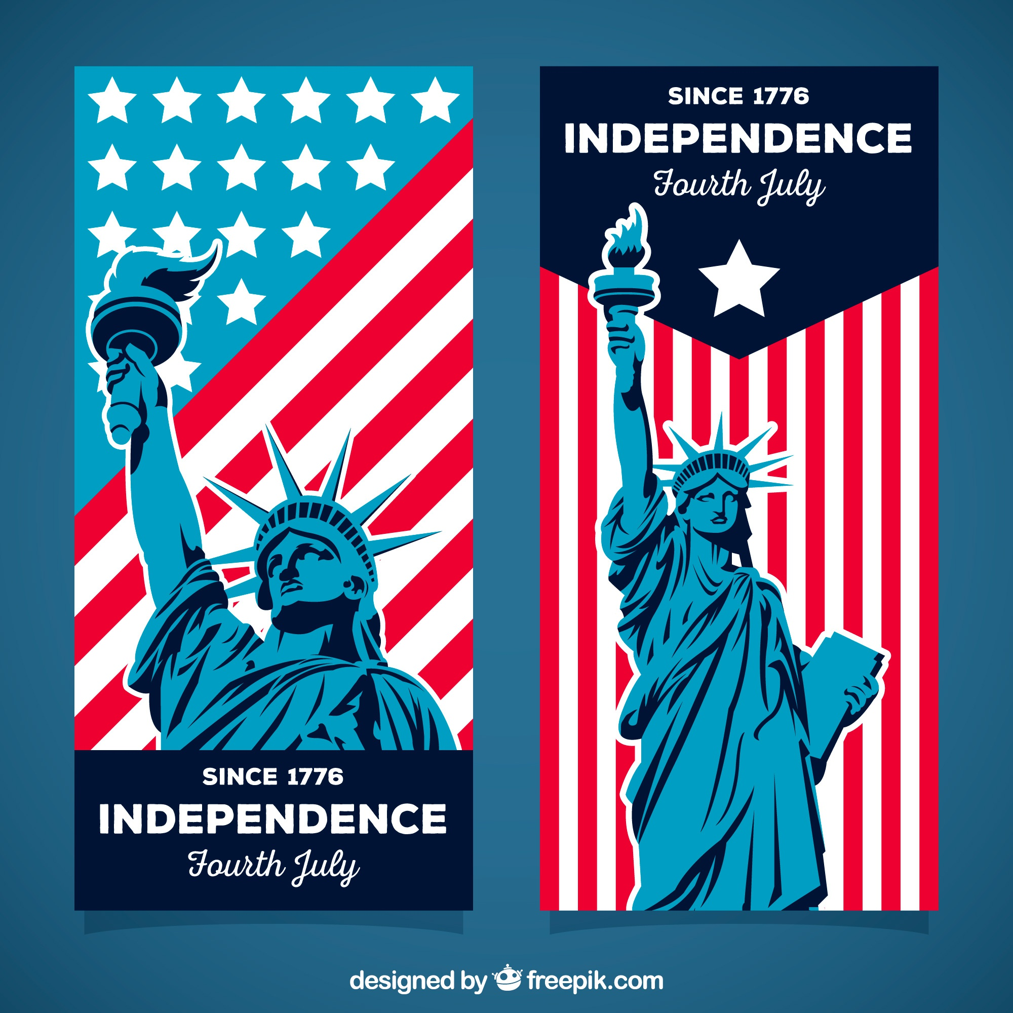 Set of 4th of july banners