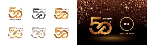 Набор 50-летия дизайн логотипа, празднование пятидесятилетия