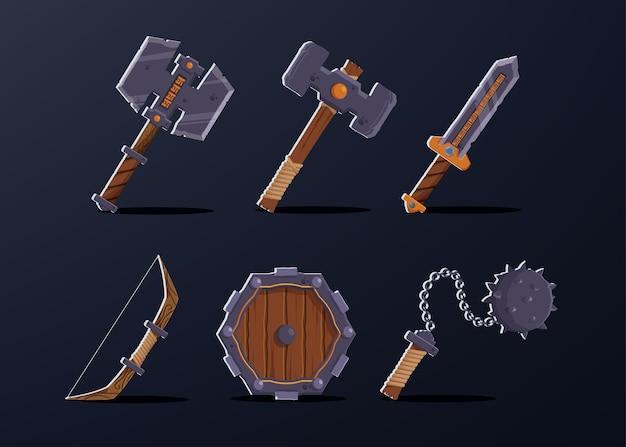 Набор из 6 предметов для персонажа-воина, таких как топор, молот, меч, лук, деревянный щит, маятник с шипами.
