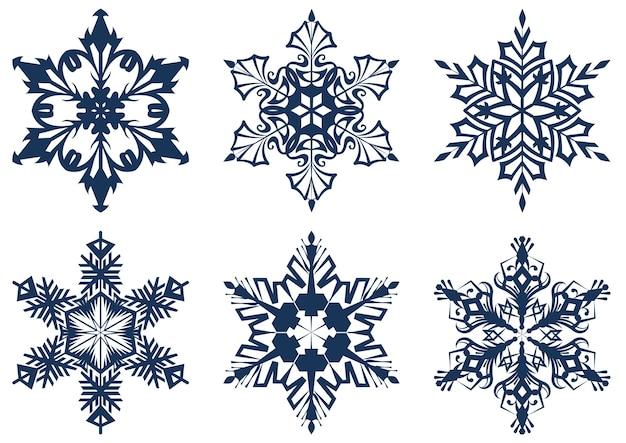 Набор из 6 голубых снежинок. изолированные на белом