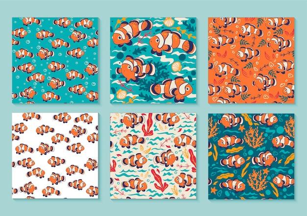 カクレクマノミと6つの明るいシームレスパターンのセット。