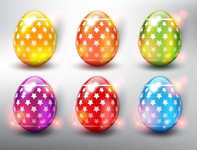 Набор из 6 цветных пасхальных яиц. яркие цветные пасхальные яйца со звездами. изолированный на белой панели.