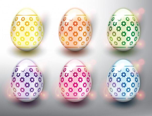 Набор из 6 цветных пасхальных яиц. пастельные цвета пасхальных яиц. изолированный на белой панели.