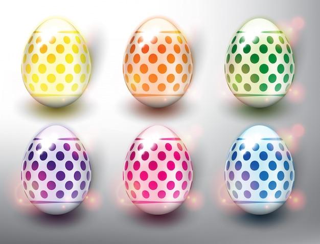 Набор из 6 цветных пасхальных яиц. пастельные цвета пасхальные яйца с пунктирным дизайном. изолированный на белой панели.