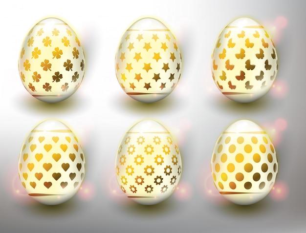 Набор из 6 цветных пасхальных яиц. пастельные цвета пасхальные яйца с золотым дизайном. изолированный на белой панели.