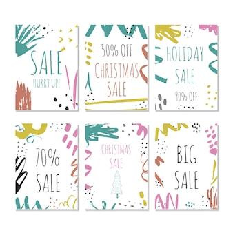 6つの創造的な販売休日のウェブサイトのバナーテンプレートのセット。ソーシャルメディアのバナー、ポスター、電子メールやニュースレターのデザイン、広告、販促資料のクリスマスと新年の手描きイラスト。