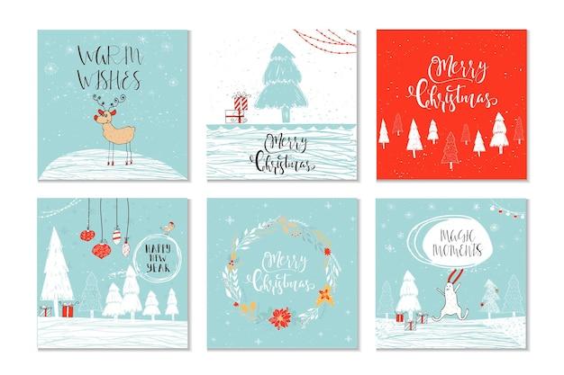 メリークリスマス、陽気で明るく暖かい願い、魔法の瞬間を引用した6つのかわいいクリスマスギフトカードのセット。簡単に編集できるテンプレート。カード、ポスター、tシャツ、バナーのかわいいイラスト。